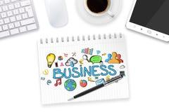 Texte et icônes d'affaires sur le fond de bureau Image stock