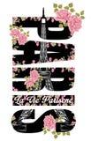 Texte et Tour Eiffel de Paris avec l'art d'illustration de roses sur le fond blanc Photographie stock libre de droits