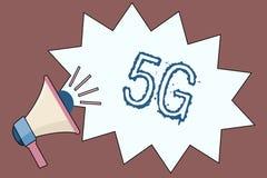 Texte 5G d'écriture Concept signifiant la prochaine génération des réseaux mobiles après la connexion de vitesse rapide de 4G LTE illustration de vecteur