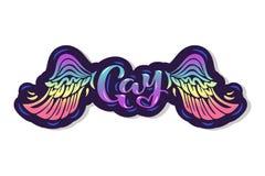 Texte gai avec des ailes d'arc-en-ciel illustration stock