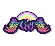Texte gai avec les ailes et l'arc-en-ciel illustration stock