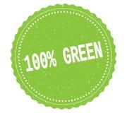 Texte 100%-GREEN, sur le signe vert de timbre d'autocollant Photos stock