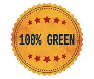 Texte 100%-GREEN, sur le timbre d'autocollant de jaune de vintage Photographie stock