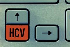 Texte Hcv d'écriture Agent infectieux de signification de concept qui causent l'inflammation du viral infection de foie photographie stock