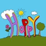 Texte heureux Photo libre de droits