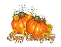 Texte heureux d'or de potirons de thanksgiving illustration stock