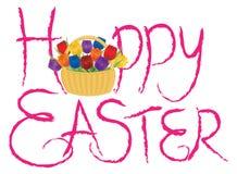 Texte heureux de brosse de Pâques avec des tulipes Photo libre de droits