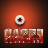Texte heureux de Halloween avec le globe oculaire Image libre de droits