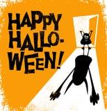 Texte heureux de Halloween avec le petit zombi moulant l'ombre effrayante énorme illustration stock