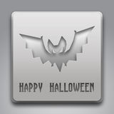 Texte heureux de Halloween avec le symbole de batte Photos libres de droits
