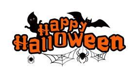 Texte heureux de Halloween avec les fantômes, la batte et les araignées Photos libres de droits