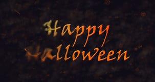 Texte heureux de Halloween se dissolvant dans la poussière vers la gauche Photographie stock libre de droits