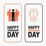 Texte heureux de jour d'amitié pour la carte de voeux d'amis illustration libre de droits