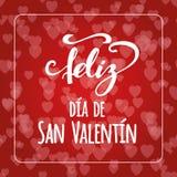 Texte heureux de jour du ` s de Valentine à l'arrière-plan rouge de bokeh de coeurs Carte romantique Élément de lettrage Inscript Photographie stock