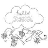 Texte heureux de lettrage de main d'école Collection faite main de calligraphie de vecteur Image stock