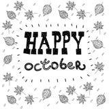 Texte heureux de lettrage de main d'octobre Collection faite main de calligraphie de vecteur Images stock