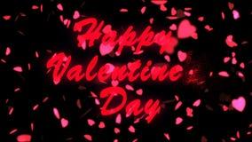 Texte heureux de rouge de jour du ` s de Valentine Fond d'abrégé sur jour du ` s de Valentine, coeurs volants et particules Fond  illustration de vecteur