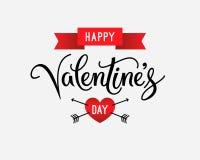 Texte heureux de salutation de jour de valentines et rétro label de style, carte Affiche de vintage et fond de vacances Illustrat Photographie stock
