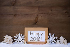 Texte 2016 heureux, neige de décoration de Noël blanc Photo stock