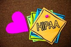 Texte Hipaa d'écriture de Word Concept d'affaires pour la portabilité d'assurance médicale maladie et la PA de messages d'idées d Photo stock