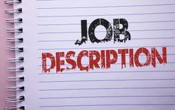 Texte Job Description d'écriture de Word Concept d'affaires pour le document qui établit l'exprerience de conditions de fonctions photographie stock
