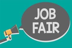 Texte Job Fair d'écriture de Word Concept d'affaires pour un événement où une personne peut faire acte de candidature pour un tra illustration stock
