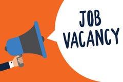 Texte Job Vacancy d'écriture Concept signifiant l'endroit payé vide ou disponible chez le petit ou grand homme de société tenant  illustration libre de droits