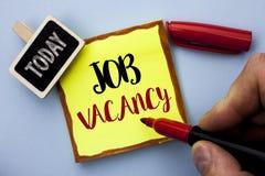Texte Job Vacancy d'écriture de Word Concept d'affaires pour le travail de location de recrue d'emploi de position vide de carriè image stock
