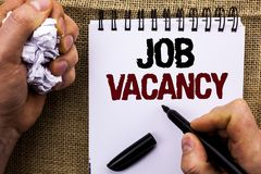 Texte Job Vacancy d'écriture de Word Concept d'affaires pour le travail de location de recrue d'emploi de position vide de carriè photos stock