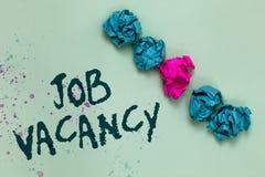 Texte Job Vacancy d'écriture de Word Le concept d'affaires pour l'endroit payé vide ou disponible à la petite ou grande société a photos stock