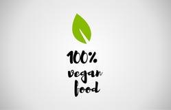 texte 100% manuscrit de feuille de vert de nourriture de vegan Photo libre de droits