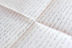 Texte manuscrit sur le papier plié - vieux courrier, lettre images libres de droits