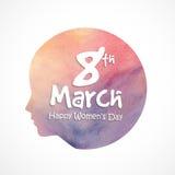 Texte 8 mars élégant pour le jour des femmes illustration stock