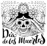 Texte mexicain de Dia de los Muertos de zentangle Jour des morts Illustration Stock