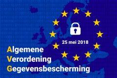 Texte néerlandais d'AVG, traduction en anglais - GDPR - règlement général de protection des données Vecteur illustration stock