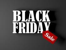 Texte noir du vendredi 3 D avec l'étiquette rouge de vente d'isolement sur le backgro noir photographie stock