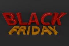 Texte noir du vendredi 3 D rendu 3d Image stock