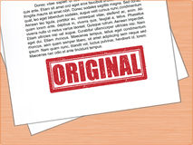 Texte original de tampon en caoutchouc sur le papier Photos libres de droits