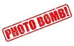 Texte rouge de timbre de bombe de photo Image libre de droits
