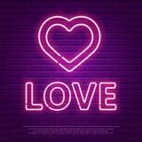 Texte rougeoyant au néon d'amour Calibre de bannière du jour de valentines rétro 80s Images libres de droits