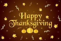 Texte, rubans, potirons et feuilles heureux d'or de thanksgiving illustration de vecteur