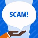 Texte Scam d'écriture de Word Concept d'affaires pour les personnes malhonnêtes de tour de fraude d'acte pour gagner l'argent illustration stock