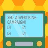 Texte Seo Advertising Campaign d'écriture Signification de concept favorisant un site pour augmenter le nombre d'avant plat tiré  illustration libre de droits