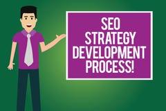 Texte Seo Strategy Development Process d'écriture Optimisation de moteur de recherche de signification de concept développer l'ho illustration stock