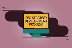 Texte Seo Strategy Development Process d'écriture Optimisation de moteur de recherche de signification de concept développer l'or illustration libre de droits