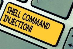 Texte Shell Comanalysisd Injection d'écriture Signification de concept employée par des pirates informatiques pour exécuter des c image libre de droits