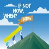Texte sinon maintenant Whenquestion d'écriture de Word Concept d'affaires pour le défi initiatique de cible de date-butoir d'acti illustration libre de droits