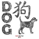 Texte tiré par la main de chien, animal et hiéroglyphe chinois Image libre de droits