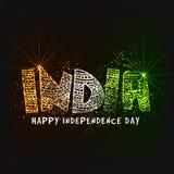 Texte tricolore pour le Jour de la Déclaration d'Indépendance indien Photographie stock