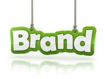 Texte vert de mot de marque sur le fond blanc Photos stock